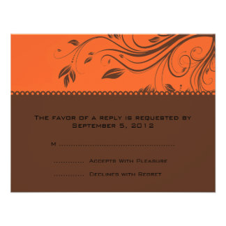 Laranja e redemoinhos florais de Brown que Wedding Convites Personalizados