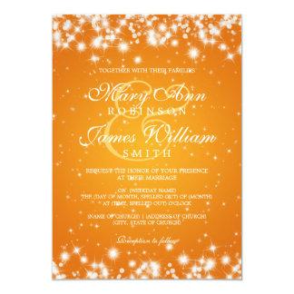 Laranja elegante da faísca do inverno do casamento convite 12.7 x 17.78cm