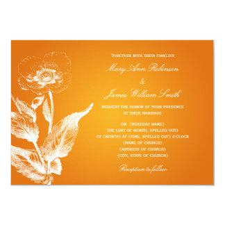 Laranja elegante da papoila do casamento convite 12.7 x 17.78cm