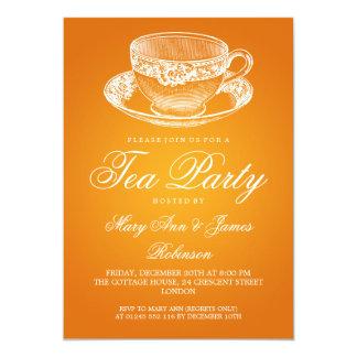 Laranja elegante do copo de chá do vintage do tea convite 12.7 x 17.78cm
