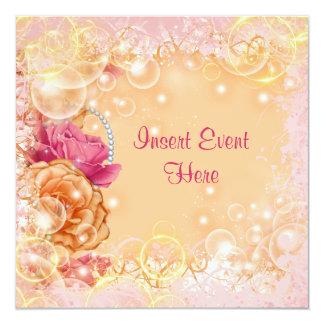 Laranja elegante do rosa cor-de-rosa do vintage convite quadrado 13.35 x 13.35cm