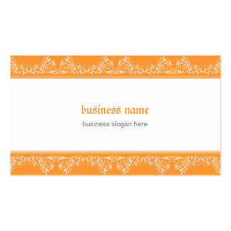 Laranja elegante filigrana do damasco retro cartão de visita