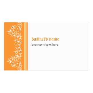Laranja elegante lateral filigrana do damasco cartão de visita