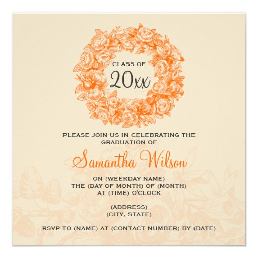Laranja elegante Tan dos rosas do vintage da festa Convite Personalizado