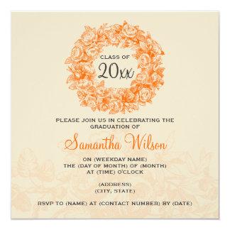 Laranja elegante Tan dos rosas do vintage da festa Convite Quadrado 13.35 X 13.35cm