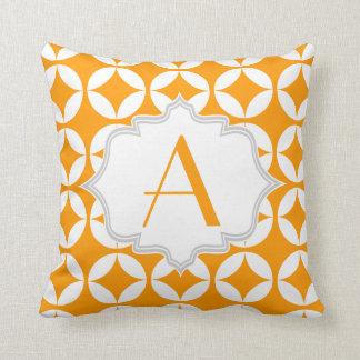 Laranja elegante, teste padrão geométrico branco travesseiro