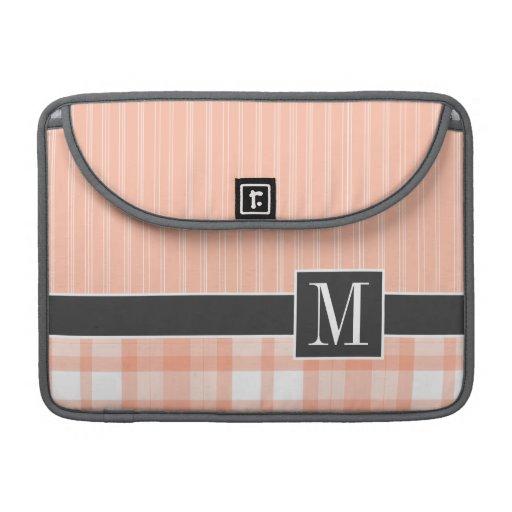 Laranja elegante, xadrez do pêssego bolsas para MacBook pro