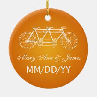 Laranja em tandem da bicicleta do favor elegante ornamento de cerâmica redondo