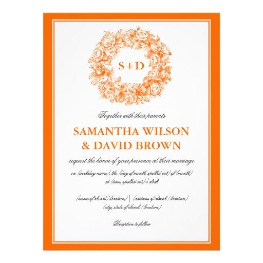 Laranja floral do monograma do vintage elegante do convites personalizados