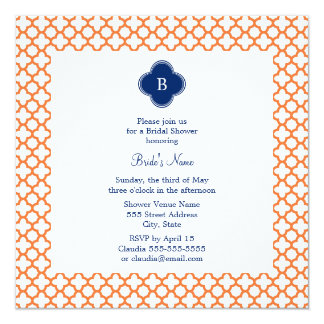 Laranja Monogrammed, azul marinho Quatrefoil Convite Quadrado 13.35 X 13.35cm