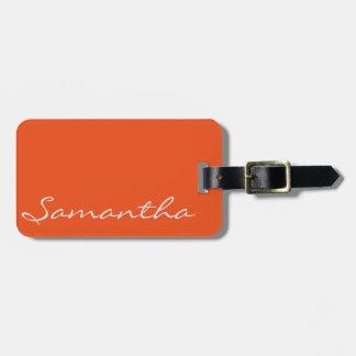 laranja na moda chique moderna simples elegante do etiqueta de bagagem