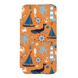Laranja náutica do oceano capa carteira incipio watson™ para iPhone 5