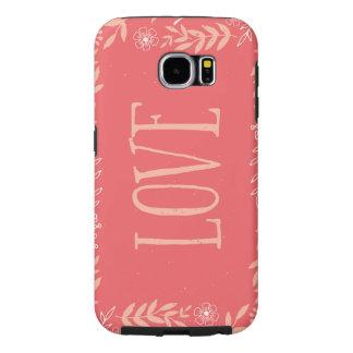 Laranja Pinkish floral rústica do amor   Capas Samsung Galaxy S6