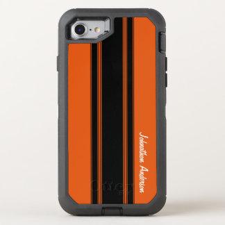 Laranja queimada moderna que compete listras com capa para iPhone 7 OtterBox defender