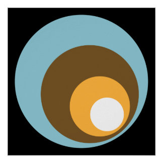 Laranja retro & branco de Brown azul do preto dos  Poster