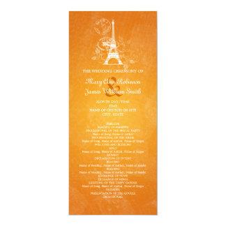 """Laranja romântica de Paris do programa elegante do Convite 10.16"""" X 23.49cm"""