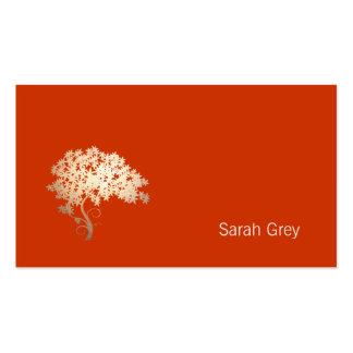 Laranja simples da árvore dourada elegante cartões de visita