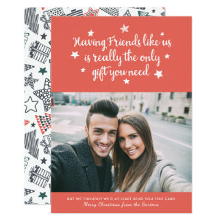Laranja vermelha do cartão com fotos   do feriado convite 12.7 x 17.78cm