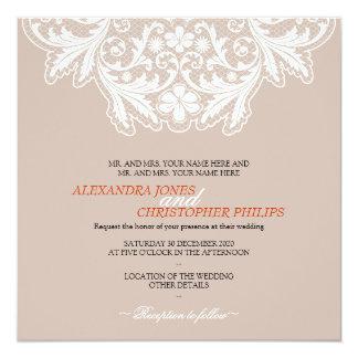 Laranja Wedding do texto elegante simples branco Convite Quadrado 13.35 X 13.35cm