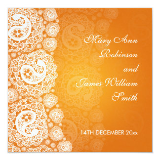 Laranja Wedding elegante do laço de Paisley Convite Quadrado 13.35 X 13.35cm