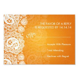 Laranja Wedding elegante do laço de RSVP Paisley Convite 8.89 X 12.7cm