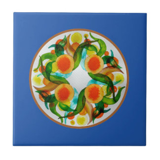 Laranjas & limões - azul azulejo de cerâmica