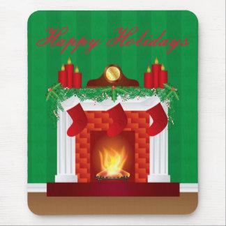Lareira com decoração Mousepad do Natal