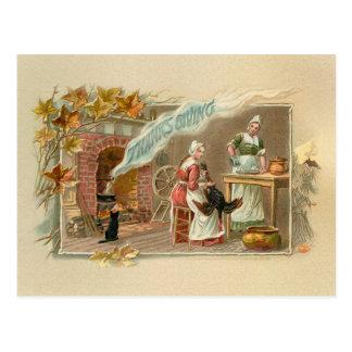 Lareira da acção de graças do peregrino do vintage cartão postal