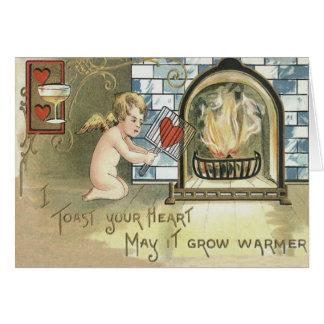 Lareira do coração do brinde do Cupido Cartão Comemorativo