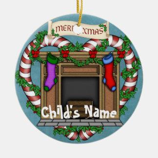 Lareira do Natal Ornamento De Cerâmica Redondo