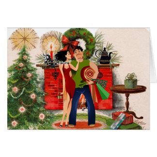 """Lareira e cartão de Natal """"sexy"""" da mulher"""