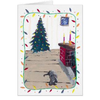 Lareira e casa cartão comemorativo