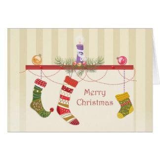 Lareira e meias do Natal Cartão Comemorativo