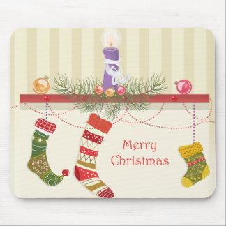 Lareira e meias do Natal Mousepad