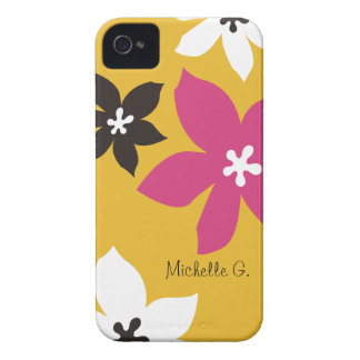Large modern flower print personalized yellow pink Case-Mate iPhone 4 cases