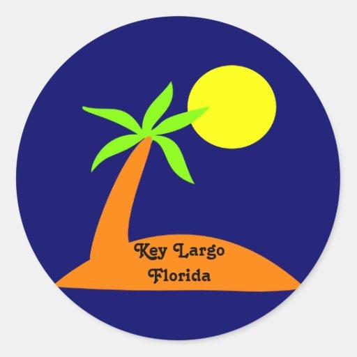 Largo chave, etiqueta tropical de Florida Adesivos Em Formato Redondos