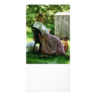 Lãs de giro da mulher cartao com foto