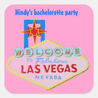 Las Vegas cor-de-rosa Bachelorette Adesivo Quadrado