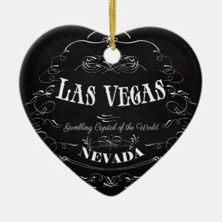 Las Vegas, Nevada - capital de jogo do mundo Ornamento De Cerâmica Coração