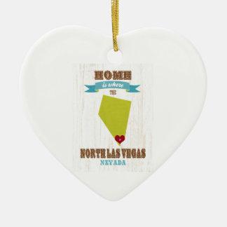 Las Vegas norte, Nevada - Home é onde Ornamento De Cerâmica Coração