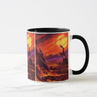 Lava do vermelho de w do planeta do vulcão da caneca