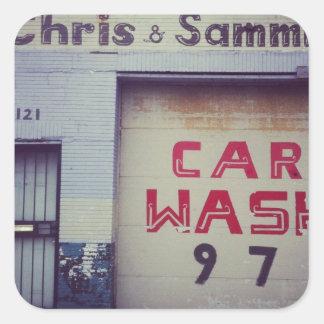 Lavagem de carros adesivo quadrado