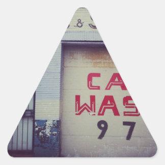 Lavagem de carros adesivo triangular