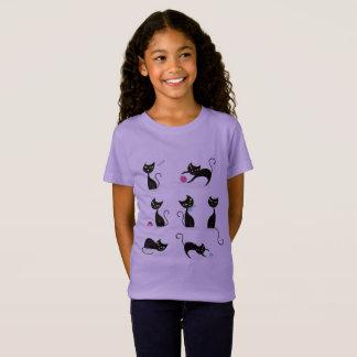 Lavanda do t-shirt das meninas com gatinhos