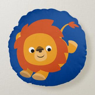 Leão alegre bonito dos desenhos animados almofada redonda
