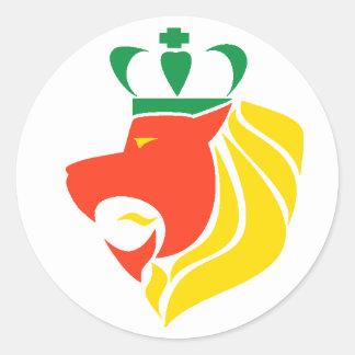 Leão coroado reggae de Rasta Adesivos Redondos