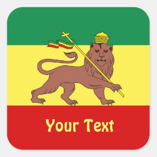 Leão da reggae de Rasta de folhas de Judah das Adesivo Em Forma Quadrada