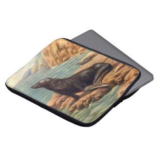 Leão de mar pelo litoral, mamífero marinho do bolsas e capas de notebook