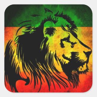 Leão de Rasta da reggae Adesivo Em Forma Quadrada