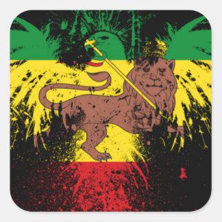 Leão de Rasta da reggae Adesivo Quadrado